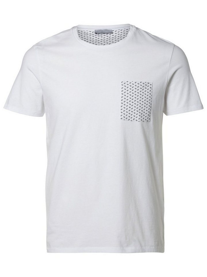 SELECTED Baumwoll- T-Shirt in Bright White