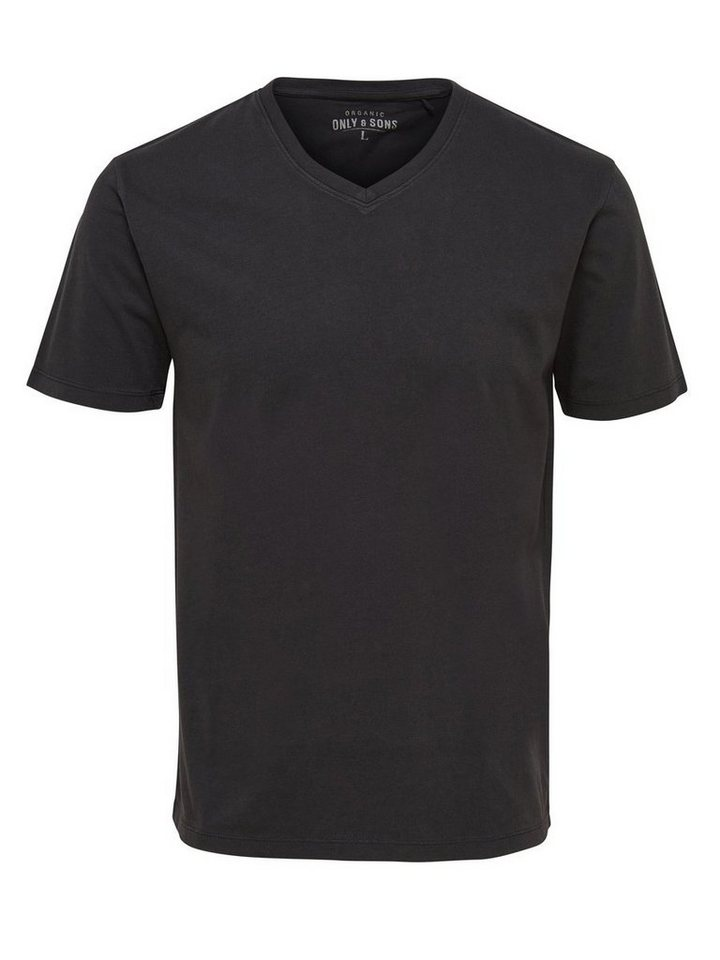 ONLY & SONS V-Ausschnitt T-Shirt in RAVEN
