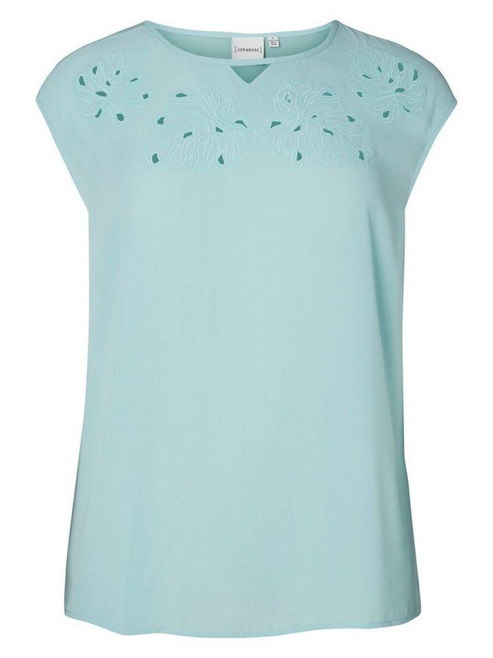JUNAROSE Jersey- Oberteil mit kurzen Ärmeln in Pastel Turquoise