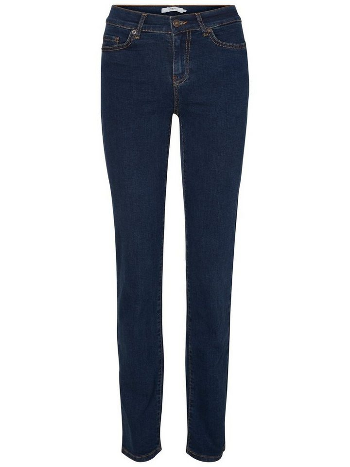 Vero Moda Fifteen NW Straight Fit Jeans in Dark Blue Denim