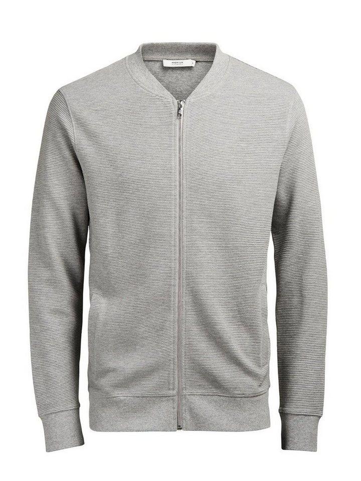Jack & Jones Baseball- Sweatshirt mit Reißverschluss in LIGHT GREY MELANGE