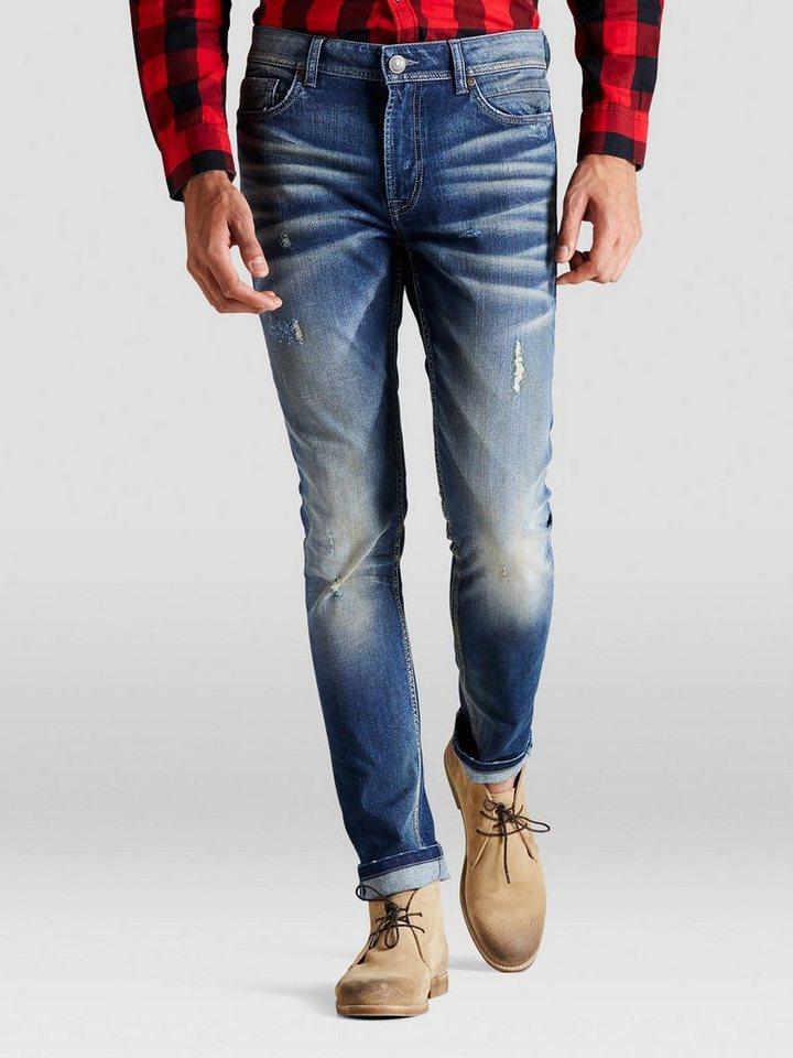 PRODUKT Washed-Looking Skinny Fit Jeans in Medium Blue Denim