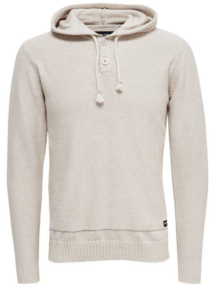 ONLY & SONS Gestrickter Hoodie in Oatmeal