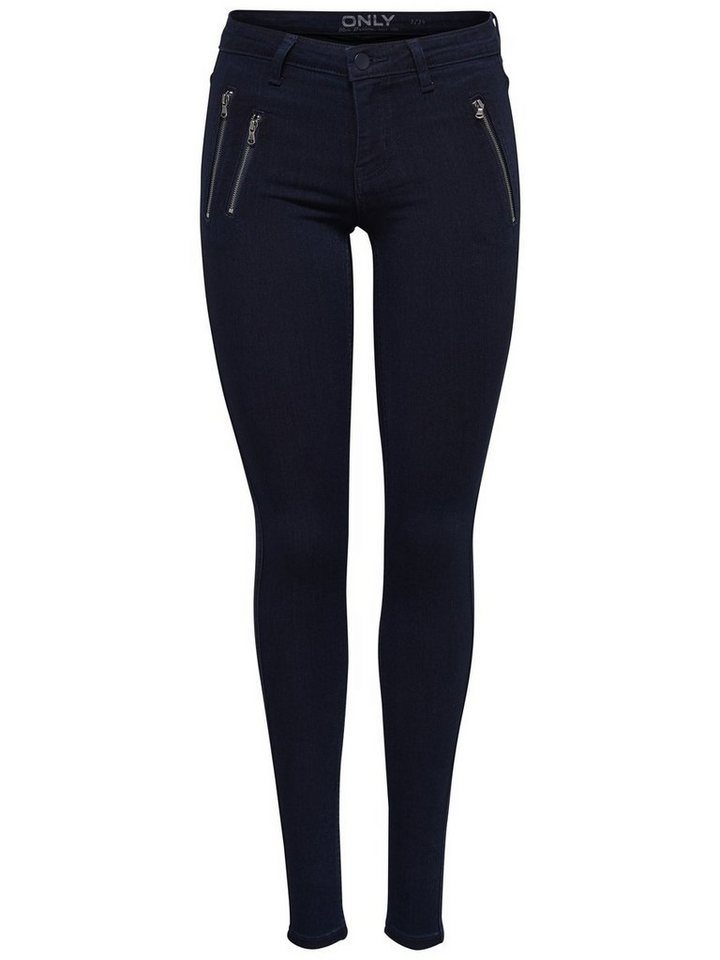 Only Eternal Reg Zip Skinny Fit Jeans in Dark Blue Denim