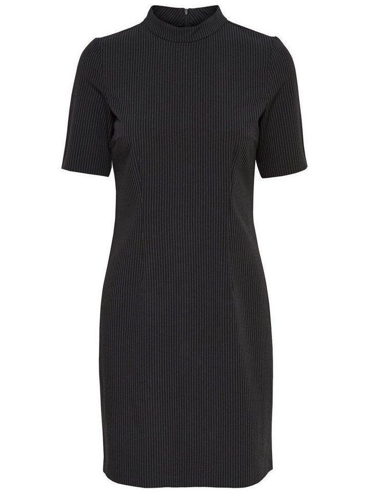 Only Nadelstreifen High-Neck- Kleid in Black