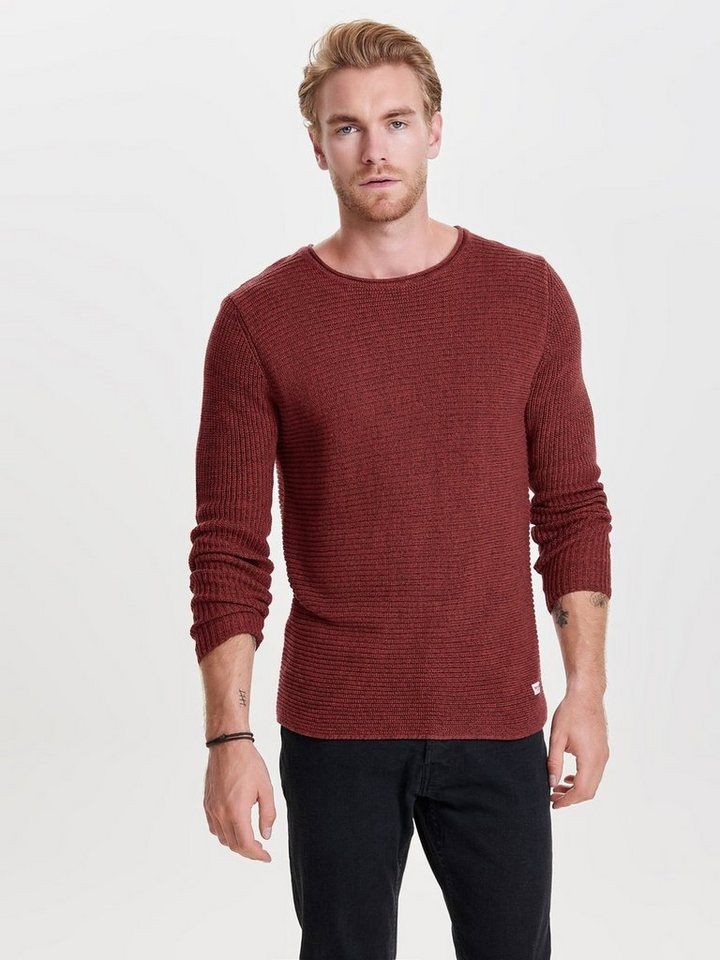 ONLY & SONS Einfarbiges Strickpullover in Rosewood