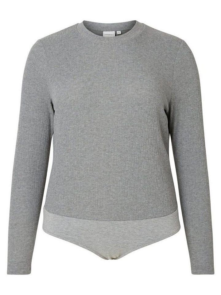 JUNAROSE Langärmeliger Bodystocking in Medium Grey Melange