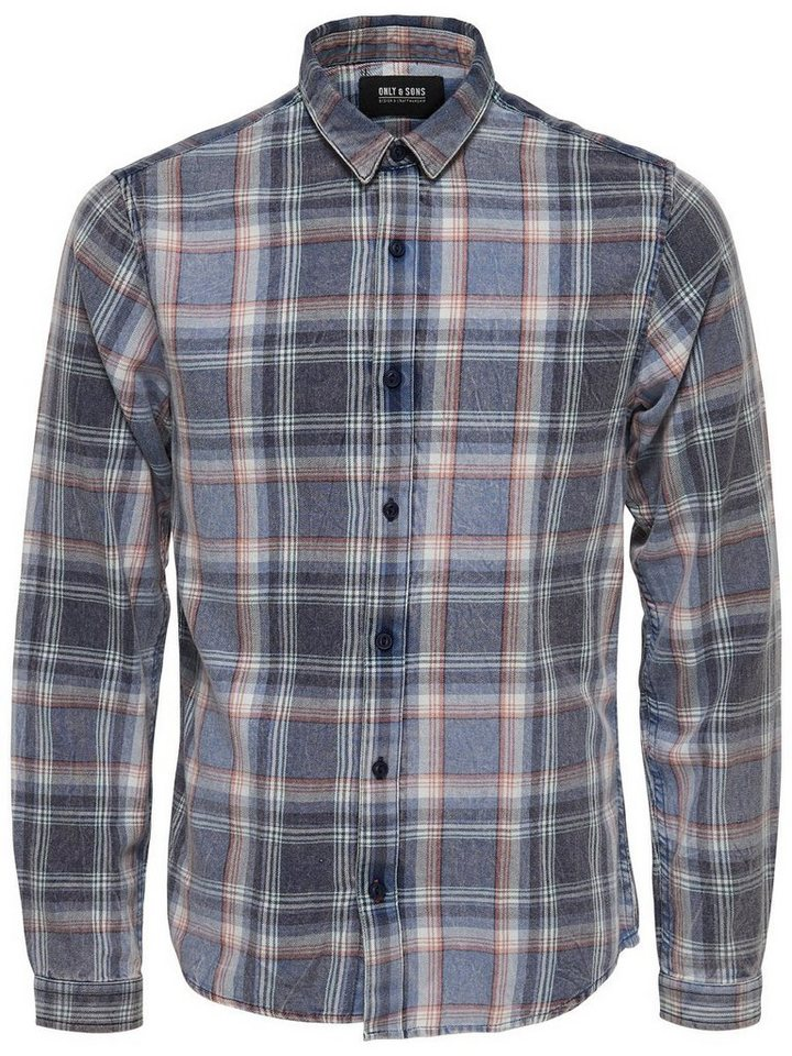ONLY & SONS Kariertes Langarmhemd in Dress Blues