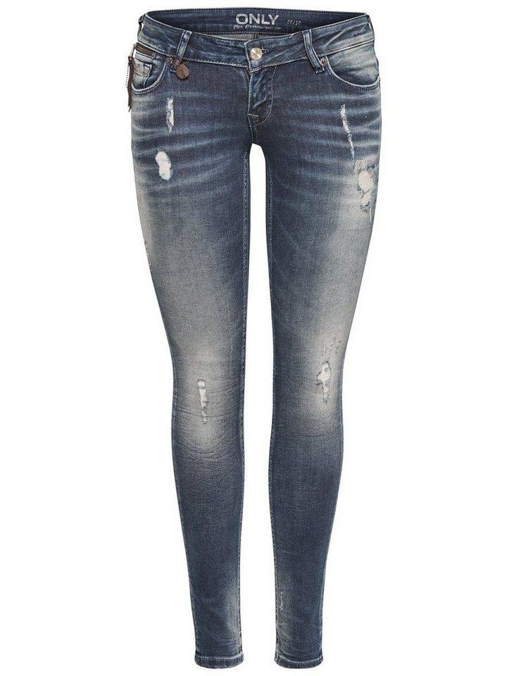 Only Coral Superlow Zip Skinny Fit Jeans in Medium Blue Denim