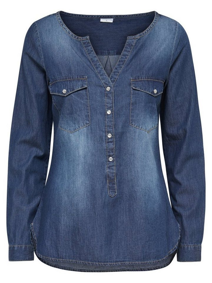 Only Detailliertes Jeanshemd in Medium Blue Denim