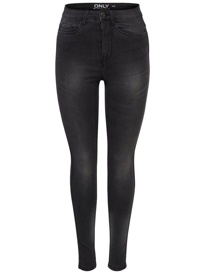 Only Ravage High Waist Black Skinny Fit Jeans in Black