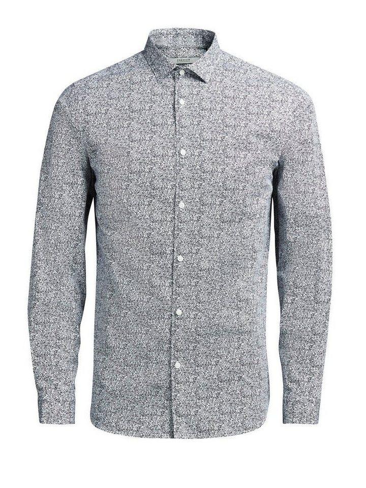 Jack & Jones Micro-Floral- Langarmhemd in Navy Blazer