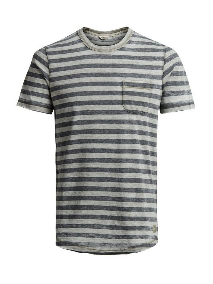 Jack & Jones Gestreiftes Melange- T-Shirt in DARK GREY MELANGE
