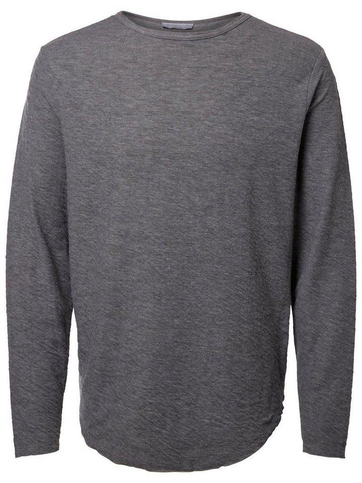 SELECTED O-Ausschnitt T-Shirt mit langen Ärmeln in DARK GREY MELANGE