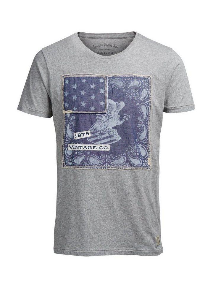 Jack & Jones Aufnäher-Print T-Shirt in LIGHT GREY MELANGE