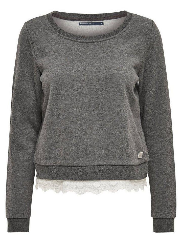 Only Detailliertes Sweatshirt in DARK GREY MELANGE
