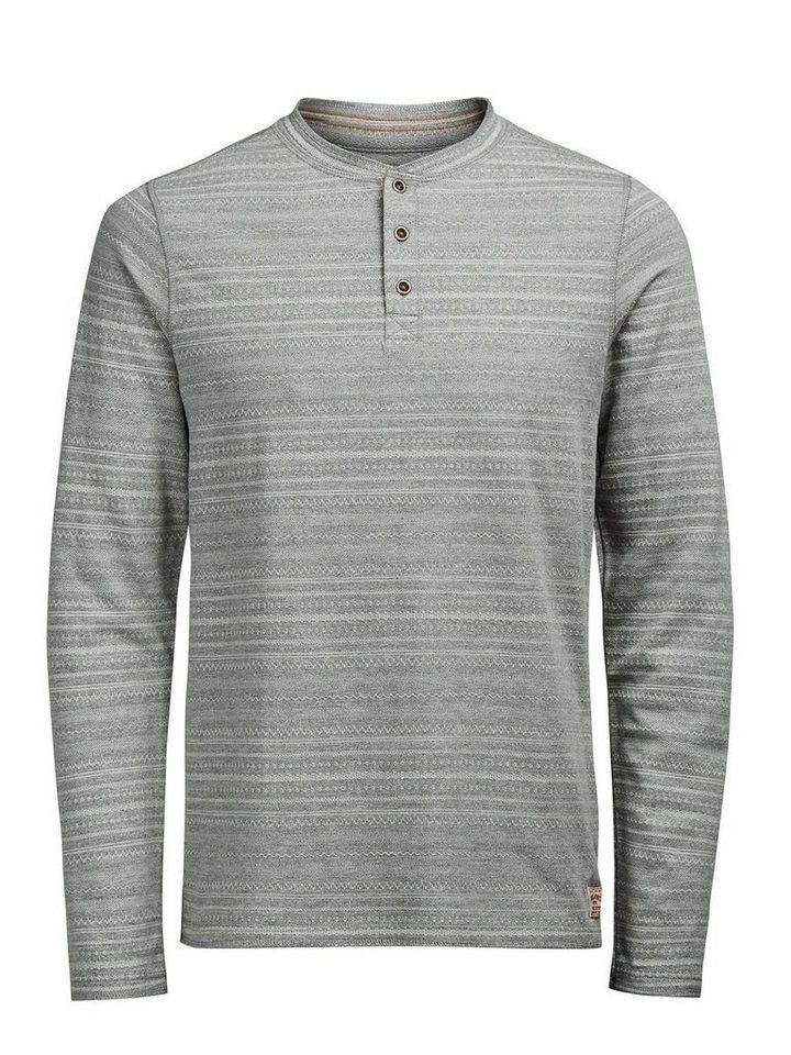 Jack & Jones Klassisches T-Shirt mit langen Ärmeln in LIGHT GREY MELANGE