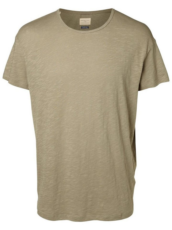 SELECTED O-Ausschnitt T-Shirt in Vetiver