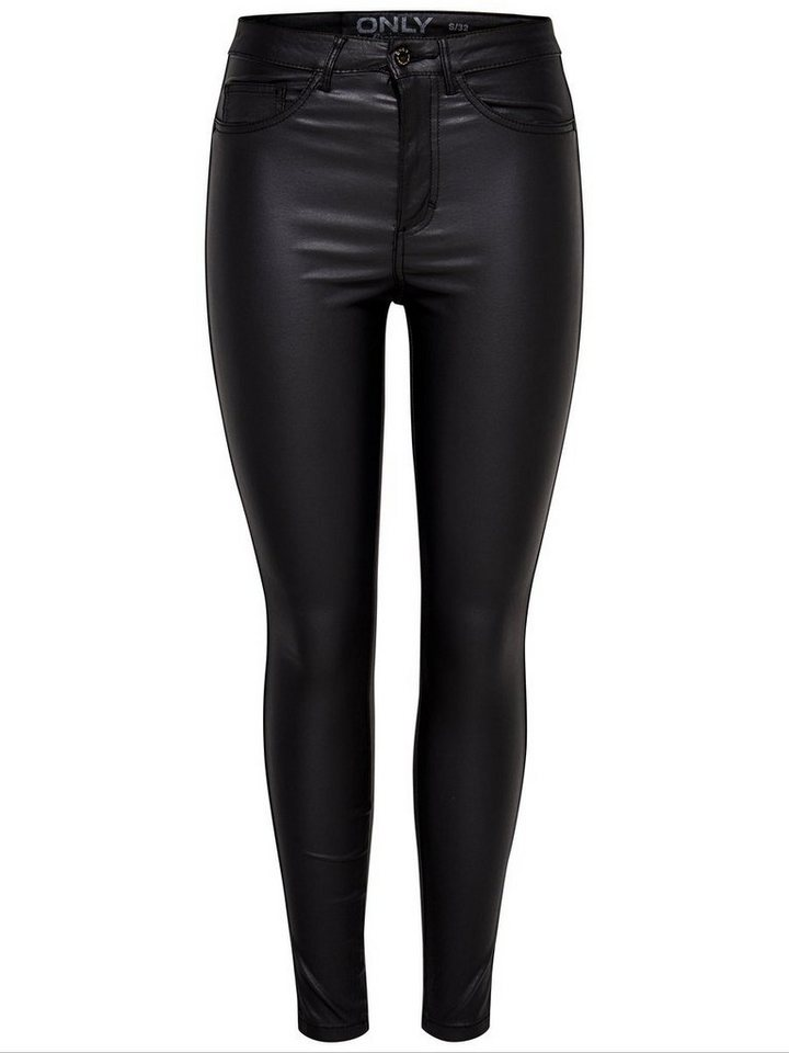 Only Royal high waist ankle coated Skinny Fit Jeans in Black