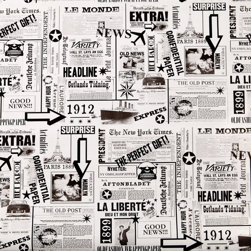BUTLERS SURPRISE »Geschenkpapier Zeitung« in schwarz-weiss