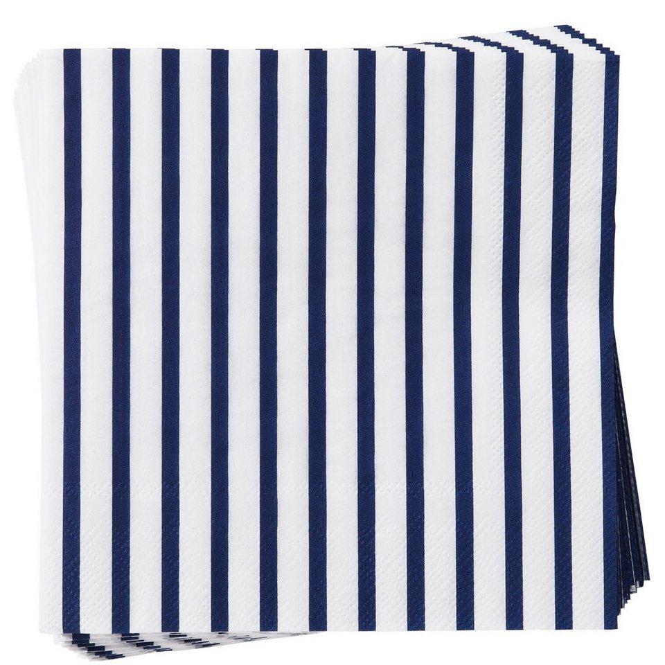 BUTLERS APRÈS »Papierserviette Streifen« in blau-weiss