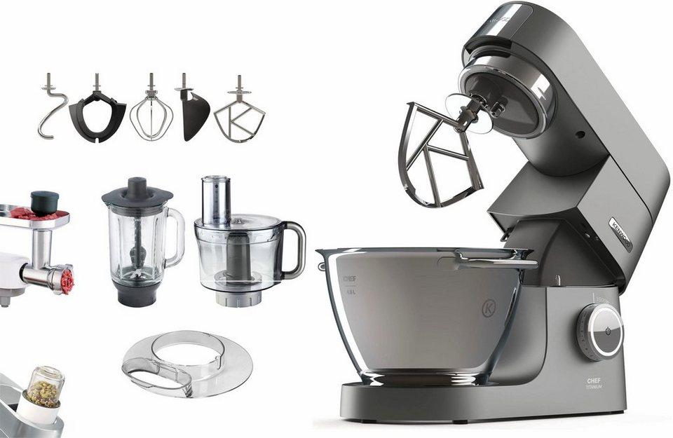 Kenwood Küchenmaschine Chef Titanium KVC7320S + Zubehörpaket im Wert von UVP € 419,96, 4,6 Liter in grau