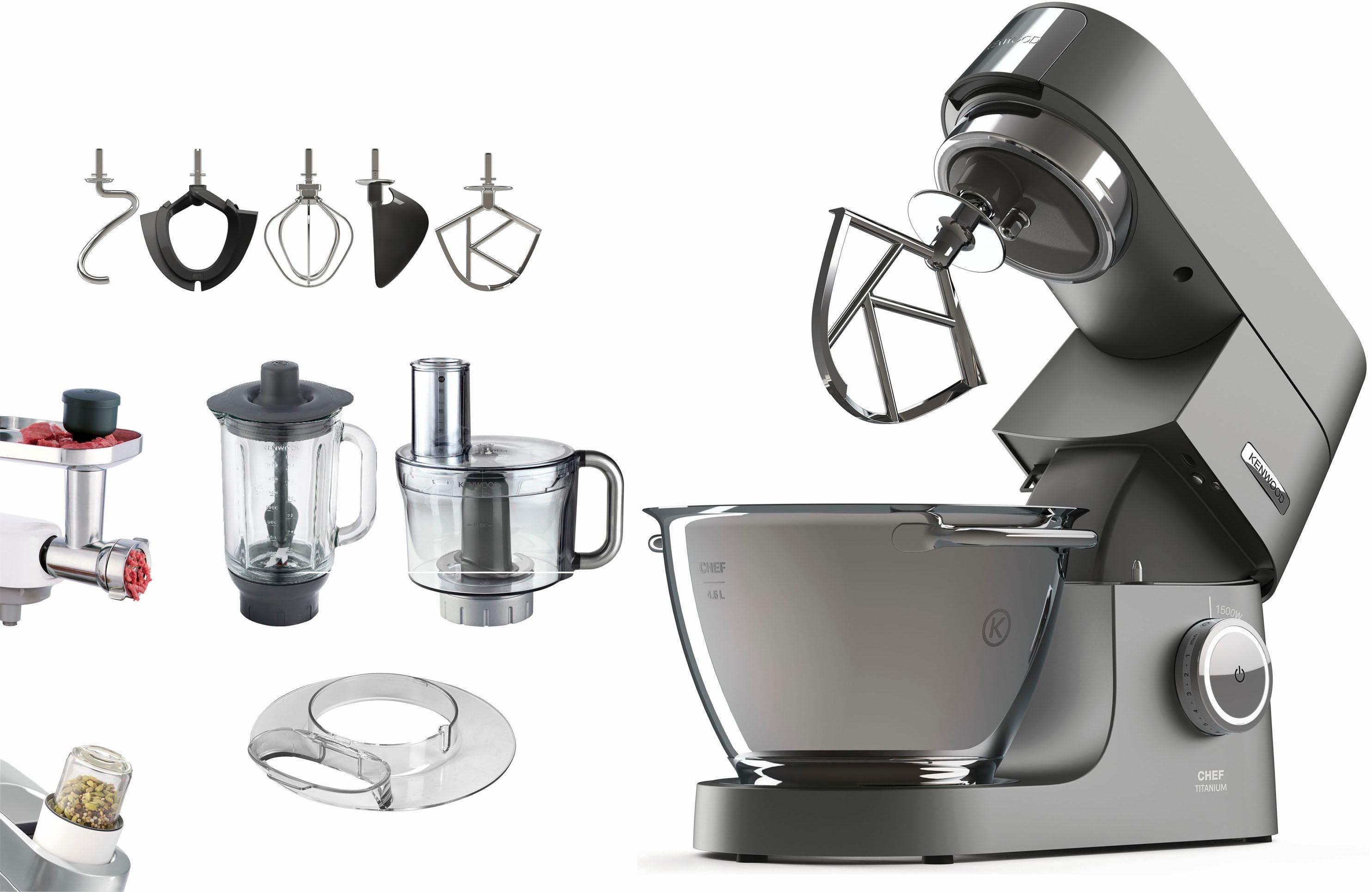 Kenwood Küchenmaschine Chef Titanium KVC7320S + Zubehörpaket im Wert von UVP € 419,96, 4,6 Liter