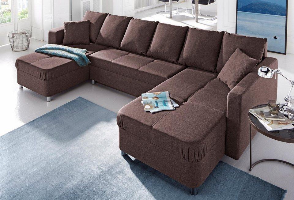 places of style wohnlandschaft inklusive bettfunktion und bettkasten online kaufen otto. Black Bedroom Furniture Sets. Home Design Ideas