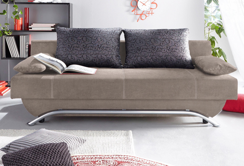 Schlafsofa, wahlweise mit Federkern und Matratzenauflage | Wohnzimmer > Sofas & Couches > Schlafsofas | Microfaser