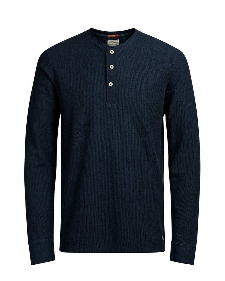 Jack & Jones Granddadkragen- T-Shirt mit langen Ärmeln in TOTAL ECLIPSE