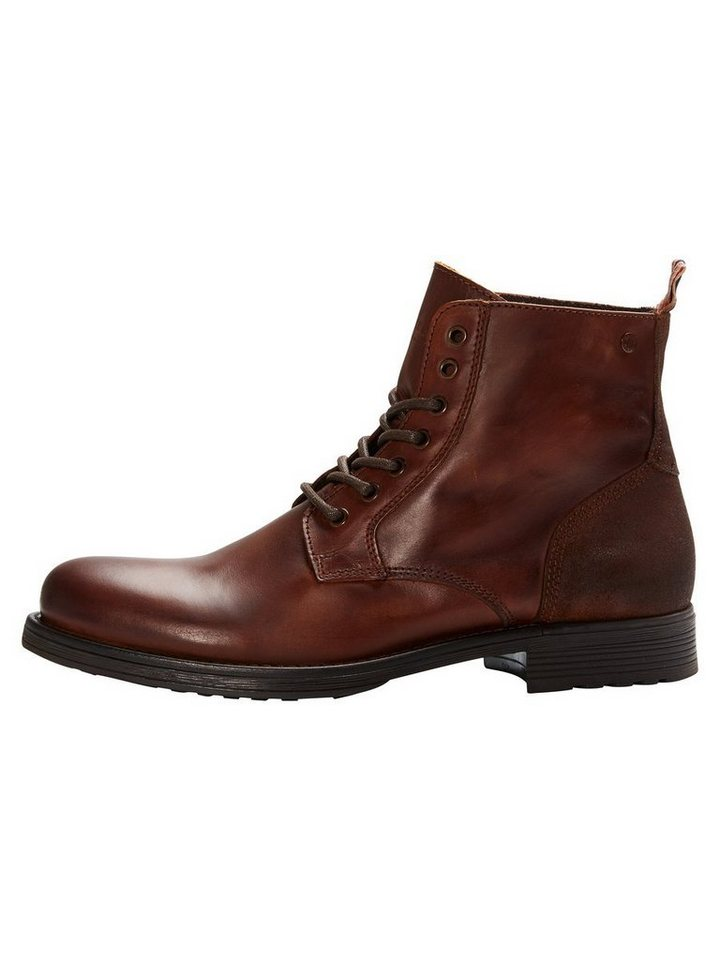 Jack & Jones Leder- Stiefel in Friar Brown