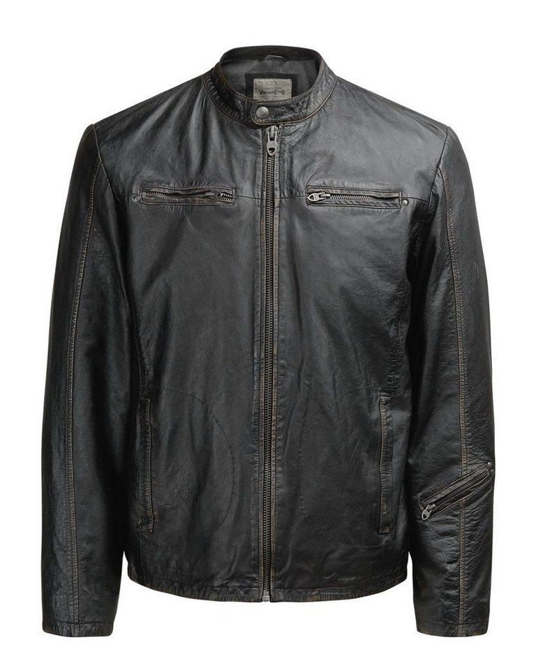 Jack & Jones Leder-Biker- Lederjacke in Black