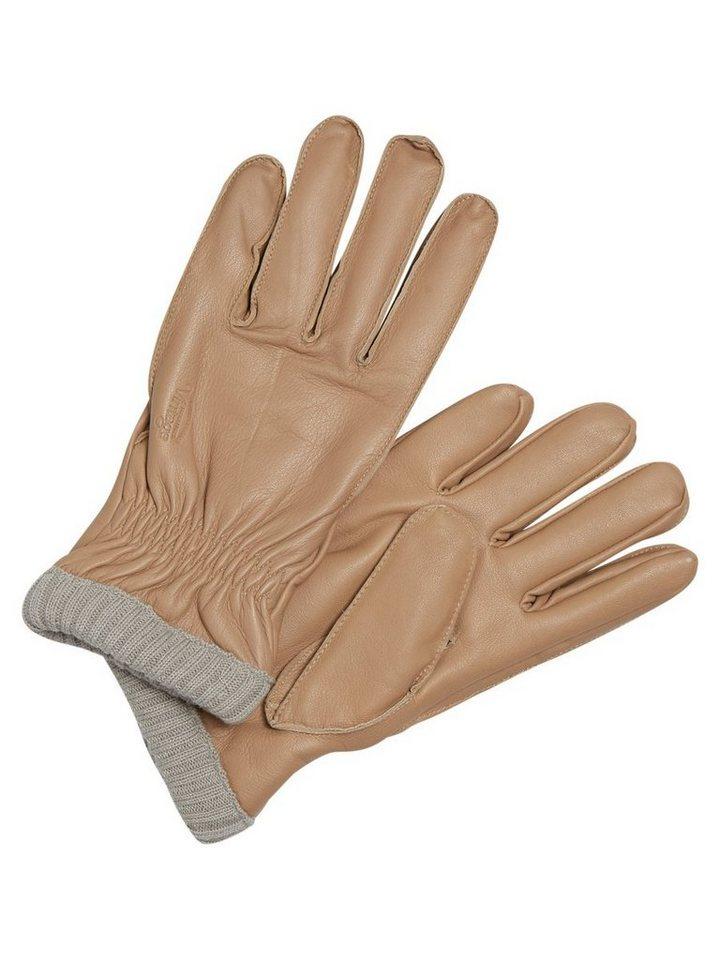 Jack & Jones Leder- Handschuhe in Oatmeal
