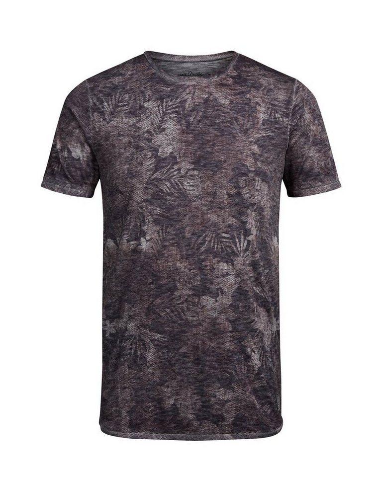 Jack & Jones Bleiches Blumen- T-Shirt in Rum Raisin