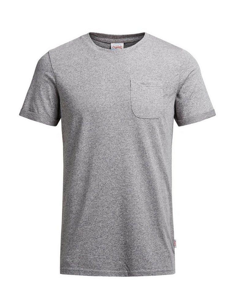 Jack & Jones Melange- T-Shirt in LIGHT GREY MELANGE