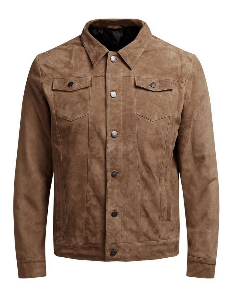 Jack & Jones Wildleder- Lederjacke in CAMEL