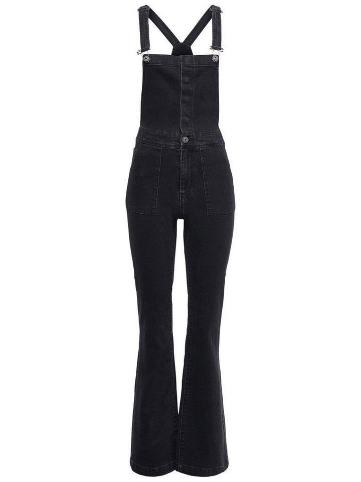 Only Kate hochtaillierter, ausgestellter Jeans- Overall in Black
