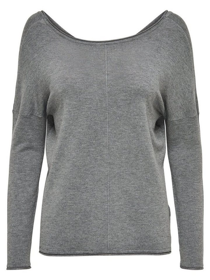 Only Langer Strickpullover in Medium Grey Melange