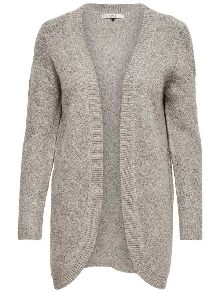 Only Offener Strick-Cardigan in LIGHT GREY MELANGE