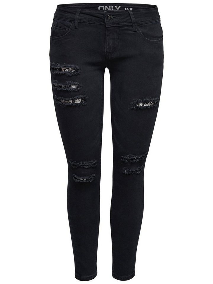 Only Coral sl sk Lace Ankle Skinny Fit Jeans in Black