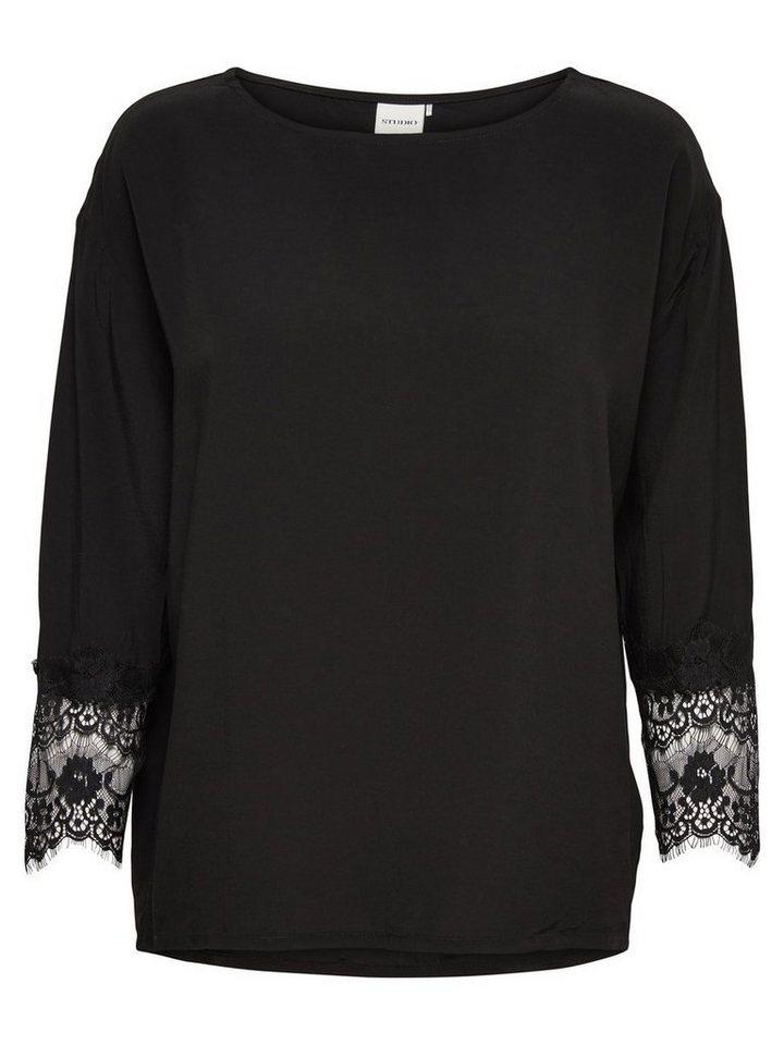 Only Spitzendetail- Oberteil mit langen Ärmeln in Black
