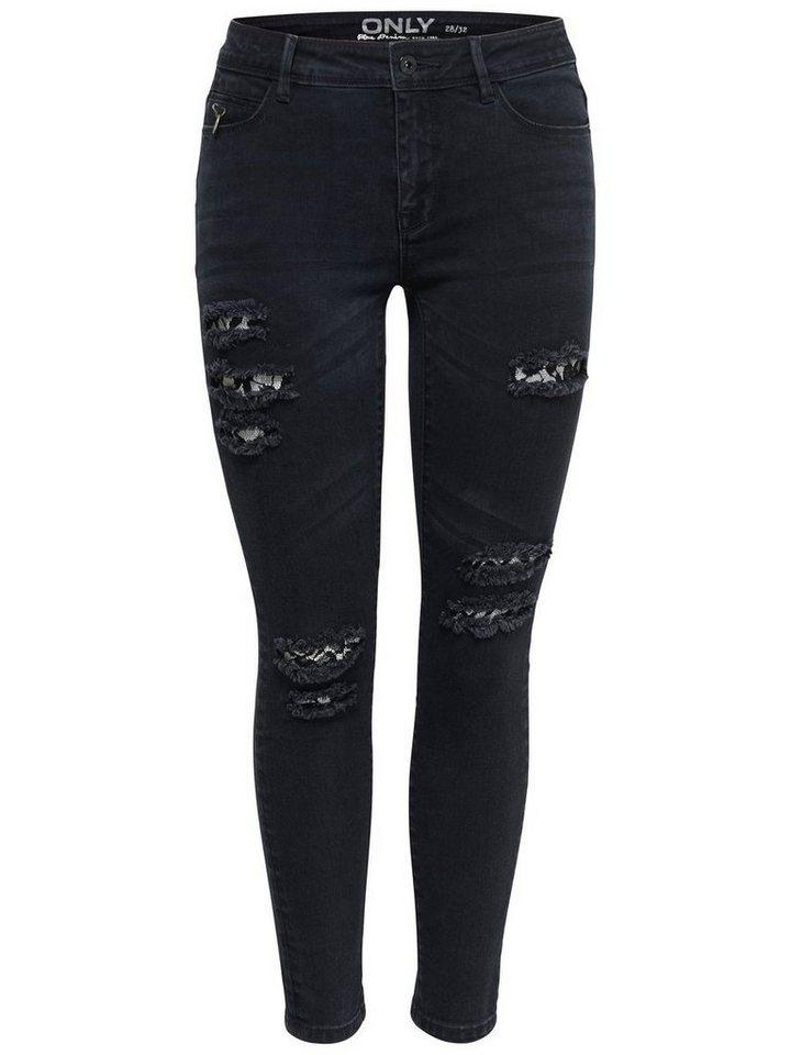 Only Carmen reg Lace Ankle Skinny Fit Jeans in Black