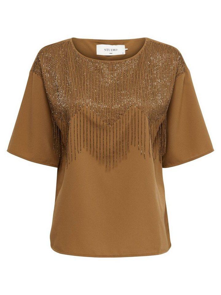Only Pailletten- Bluse mit 2/4 Ärmeln in Bronze Brown