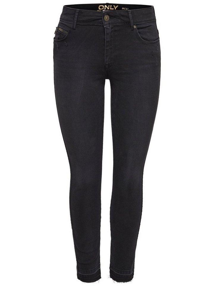 Only Carmen Reg Ankle Skinny Fit Jeans in Black
