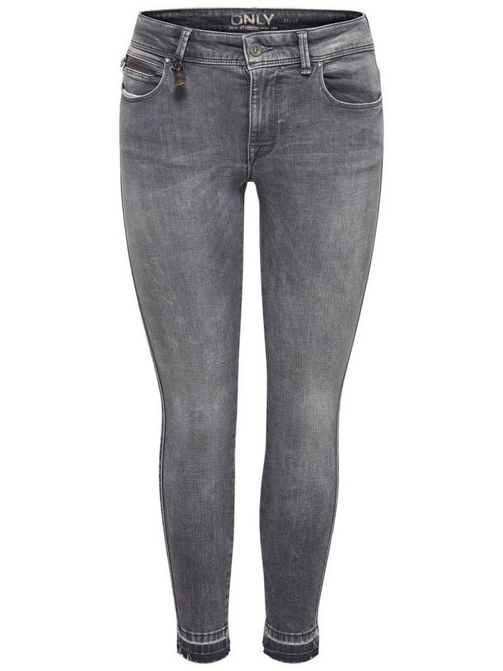 Only Carmen Reg Ankle Skinny Fit Jeans in Medium Grey Denim