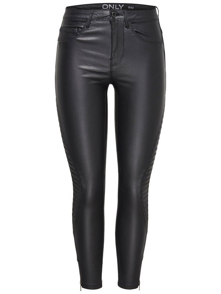 Only Royal Reg Rider Coated Ankle Skinny Fit Jeans in Black