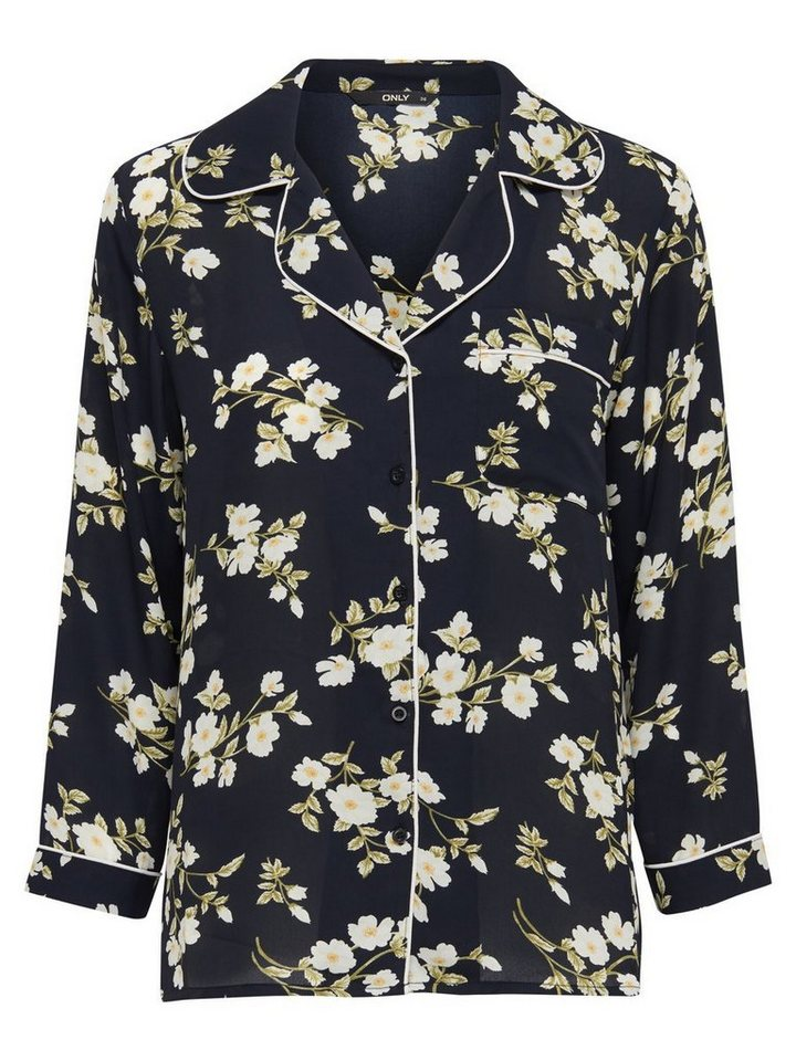 Only Blumen- Langarmhemd in Black