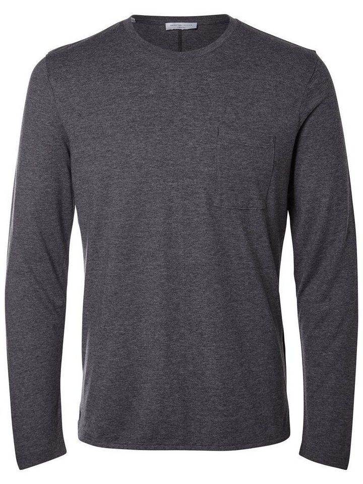 SELECTED Rundhalsausschnitt T-Shirt in Medium Grey Melange