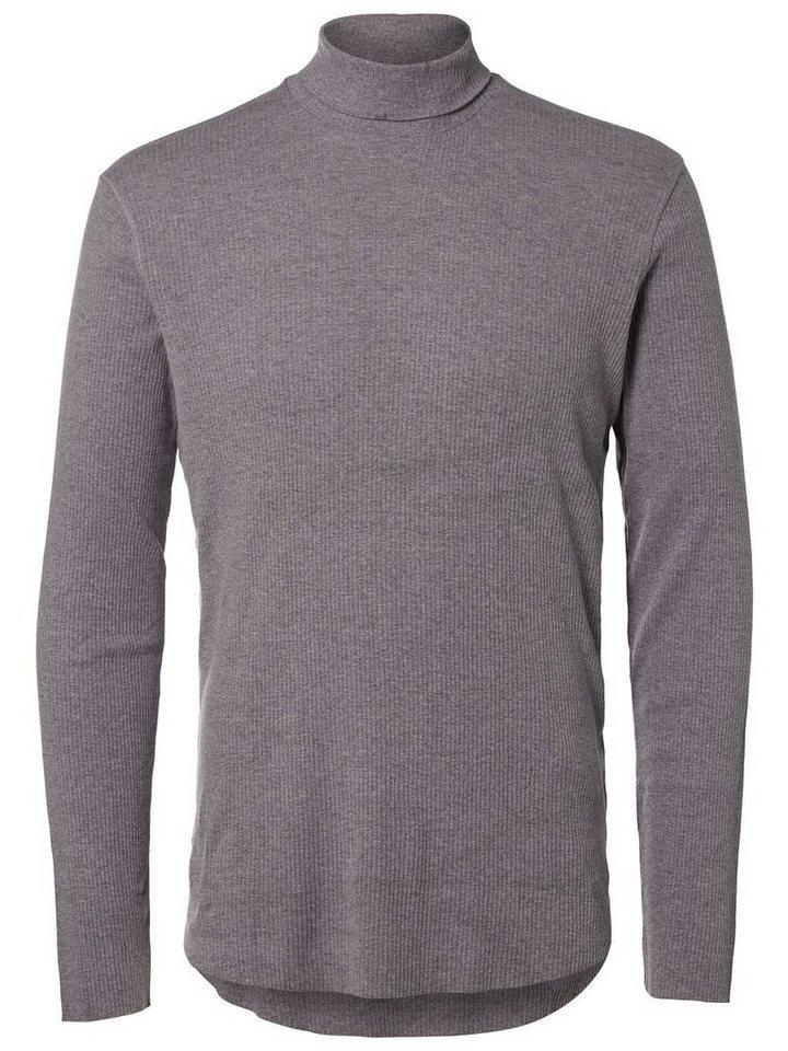 SELECTED Regular fit- T-Shirt in Medium Grey Melange