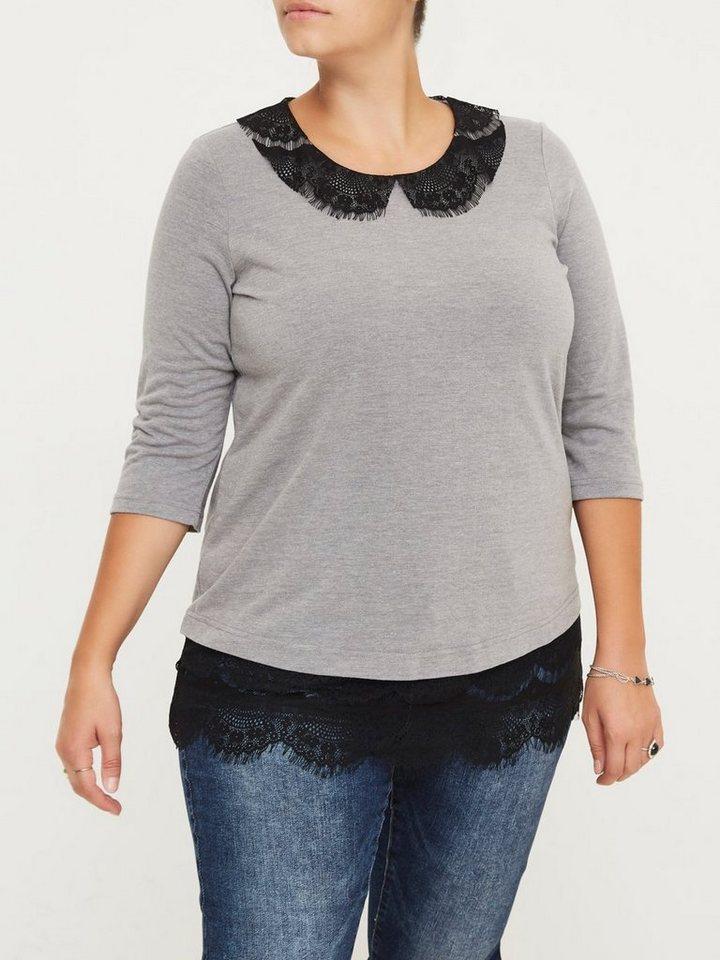 JUNAROSE 3/4-ärmelige Bluse in Medium Grey Melange